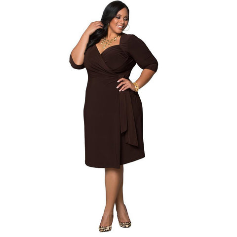 Plus Size Pure Color Pleated Wrap Knee-length Dress
