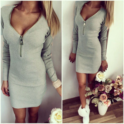 Deep V-neck Long Sleeves Bodycon Mini Club Dress - MeetYoursFashion - 6