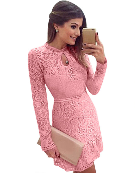 Lace Hollow Out Long Sleeves Mini Party Dress - Meet Yours Fashion - 5