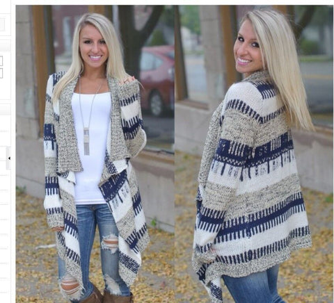 Contrast Color Cardigan Irregular European Fashion Sweater - Meet Yours Fashion - 2