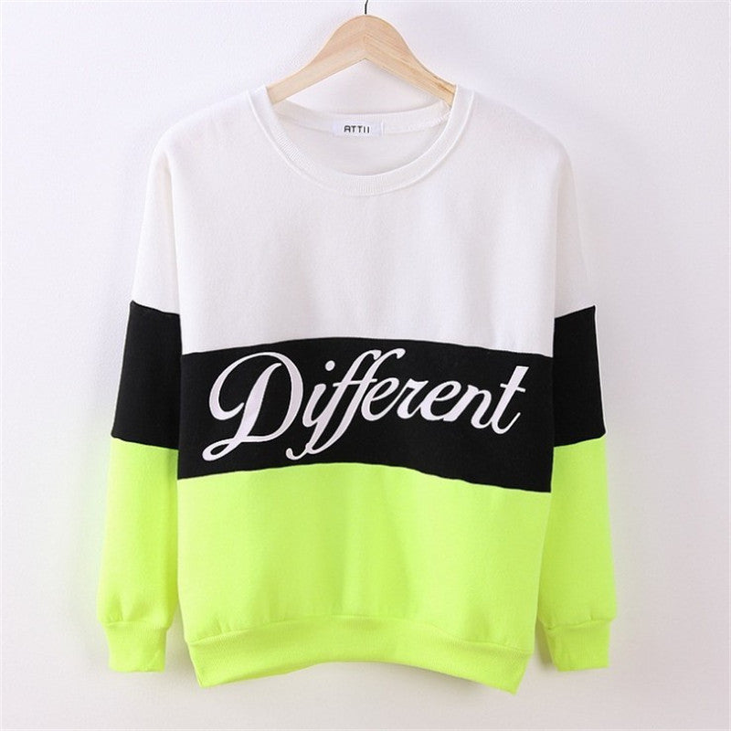 Contrast Color Letter Splicing Print Pullover Scoop Sweatshirt