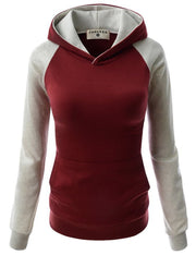 Splicing Hooded Pocket Contrast Color Slim Hoodie - Meet Yours Fashion - 8