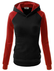 Splicing Hooded Pocket Contrast Color Slim Hoodie - Meet Yours Fashion - 5
