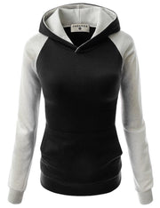 Splicing Hooded Pocket Contrast Color Slim Hoodie - Meet Yours Fashion - 6
