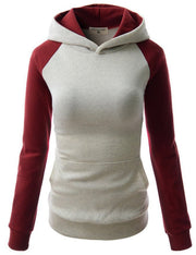 Splicing Hooded Pocket Contrast Color Slim Hoodie - Meet Yours Fashion - 7