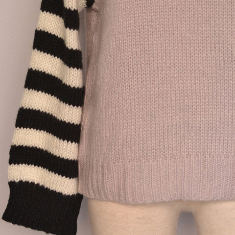Turtleneck Striped Sleeve Knitted Sweater