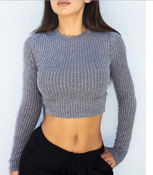Back Cross Navel Scoop Striped Pullover Sweater - Meet Yours Fashion - 1