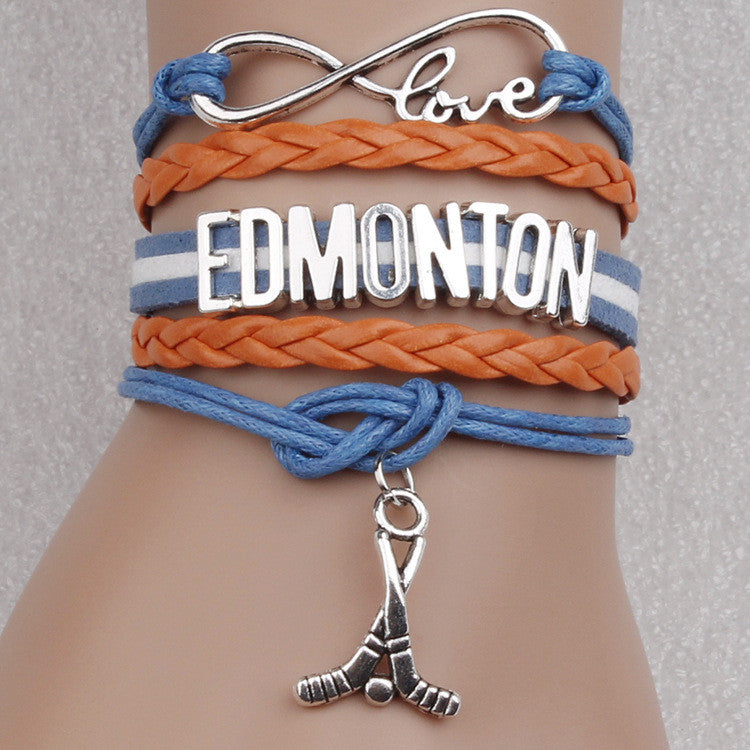 Edmonton Hockey Ball Colorful Woven Bracelet