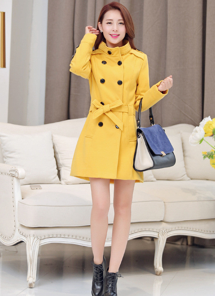 Double Breasted Stand Collar Belt Slim Long Plus Size Coat - Meet Yours Fashion - 6