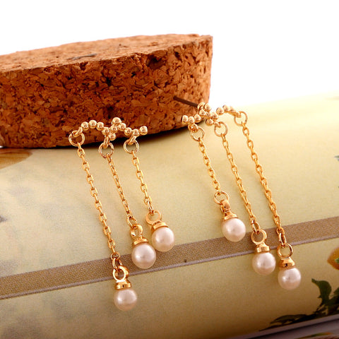 Beautiful Pearl Tassels Stud Clip Earrings
