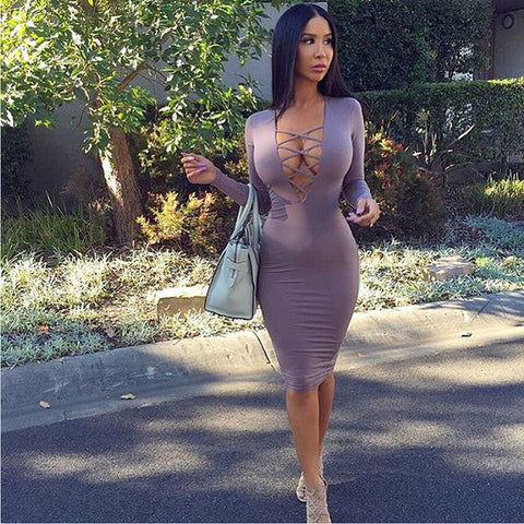 Cross Neck Bandage Bodycon Knee-length Club Dress - MeetYoursFashion - 6