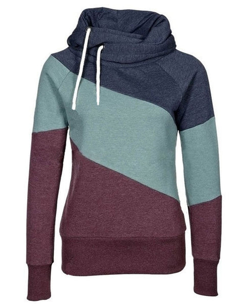 Color Block Patchwork High Neck Sport Hoodie - MeetYoursFashion - 5