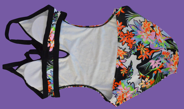 Deep V-neck Straps Flower Print One Pieces Swimwear Monokini - Meet Yours Fashion - 5