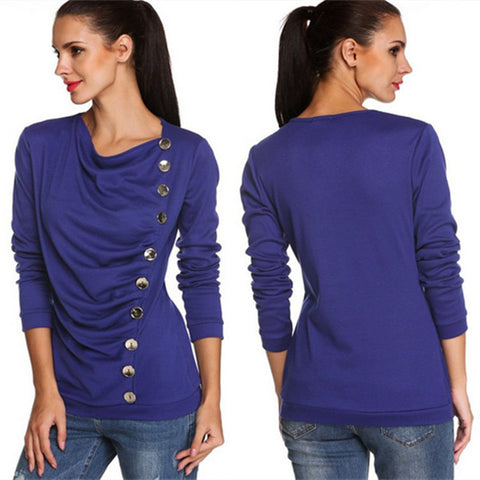 Scoop Long Sleeves Button Sheath Pure Color Blouse