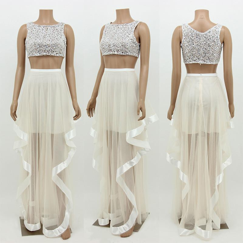 Mesh Two Piece Crop Top with Irregular Long Skirt Dress Set - Meet Yours Fashion - 4