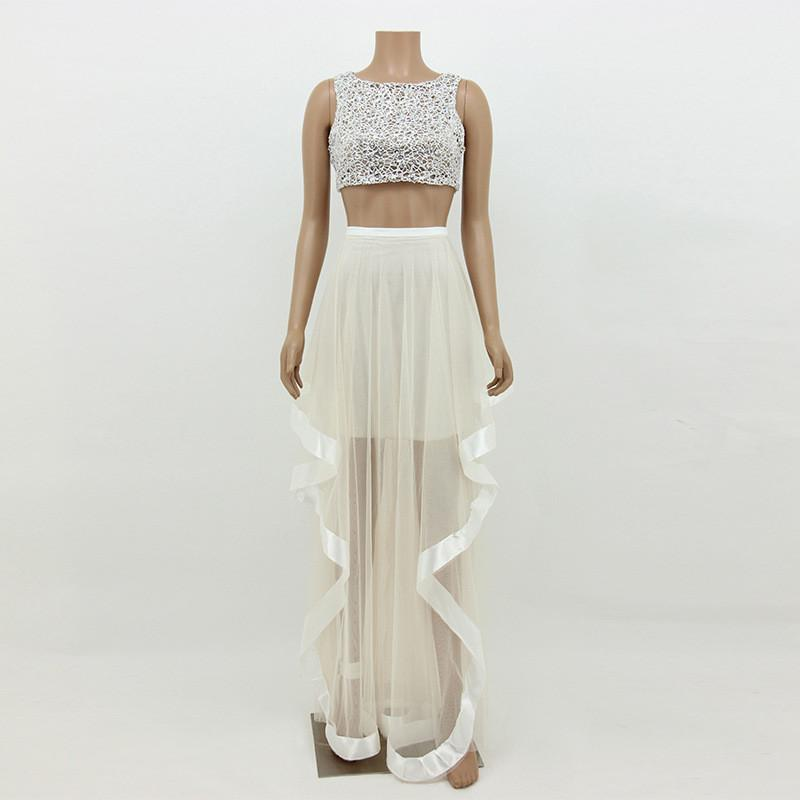 Mesh Two Piece Crop Top with Irregular Long Skirt Dress Set - Meet Yours Fashion - 2