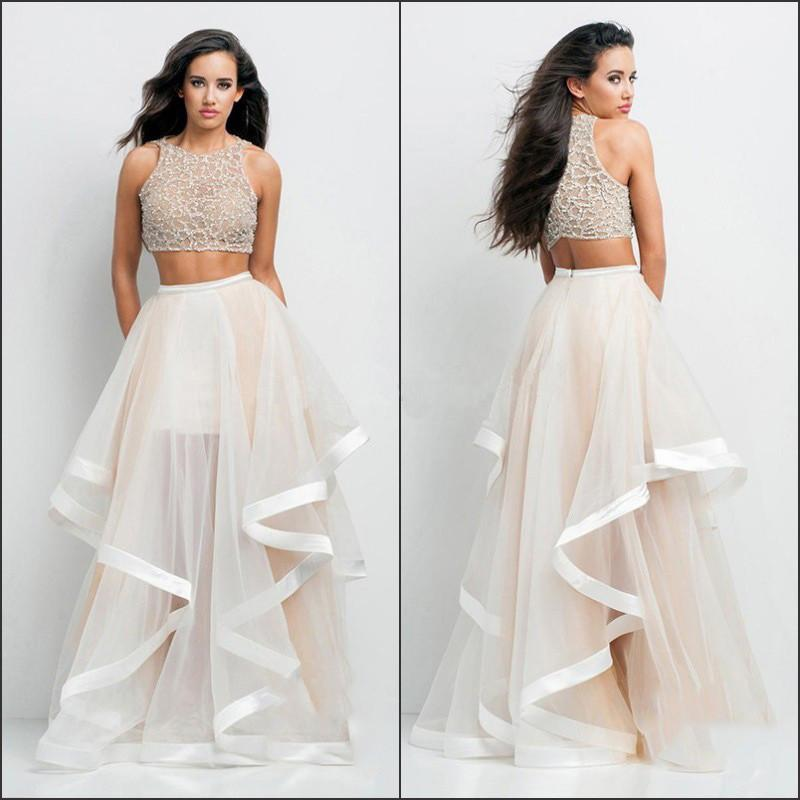 Mesh Two Piece Crop Top with Irregular Long Skirt Dress Set - Meet Yours Fashion - 1