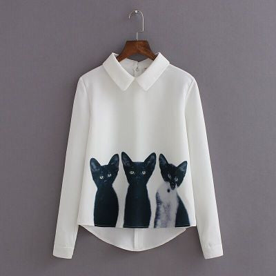 Three Cats Flower Print Turn-down Collar Pullover Blouse - Meet Yours Fashion - 2