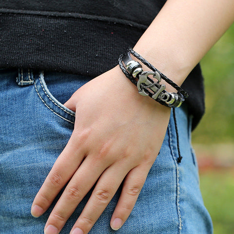 Fashion Beaded Anchor Leather Bracelet