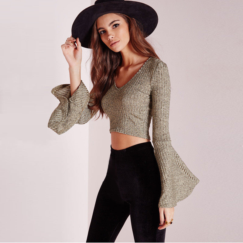 Punk Loose Trumpet Sleeve V-neck Sheath Bare Midriff Blouse - Meet Yours Fashion - 2