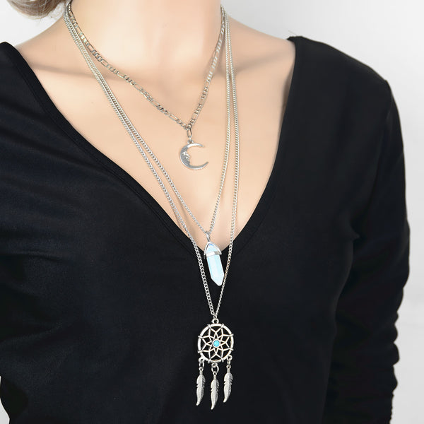 Dreamcatcher Crystal Moon Long Sweater Chain Necklace