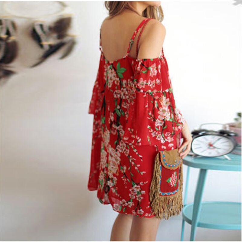 Spaghetti Strap Print Off Shoulder Short Sleeve Short Dress - Meet Yours Fashion - 3