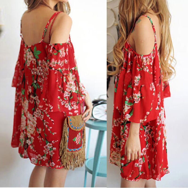 Spaghetti Strap Print Off Shoulder Short Sleeve Short Dress - Meet Yours Fashion - 2