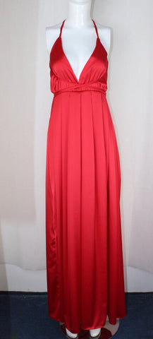 Spaghetti V-neck Backless Solid Color Long Dress