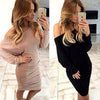 Fold Off-Shoulder Long Sleeve Knee-Length Dress