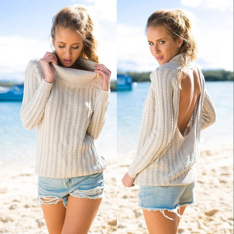 Backless Scoop Solid Color Pullover Lapel Sweater - Meet Yours Fashion - 2