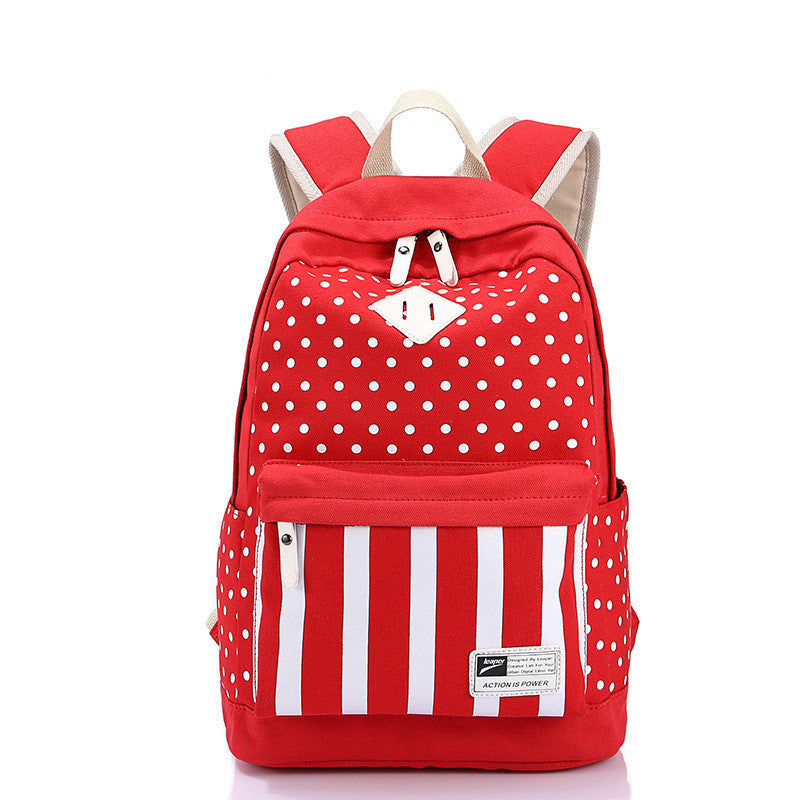 Polka Dot And Strip Print School Backpack Canvas Bag - Meet Yours Fashion - 1