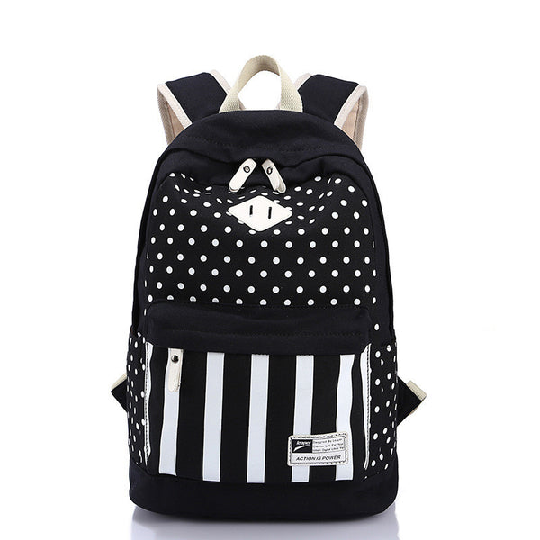 Polka Dot And Strip Print School Backpack Canvas Bag - Meet Yours Fashion - 3