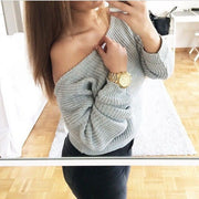 Off Shoulder Pullover Knit Loose Pure Color Sweater - Meet Yours Fashion - 2