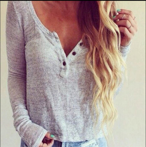 Hot Style Button Decorate V Neck Knit Women's Sweater