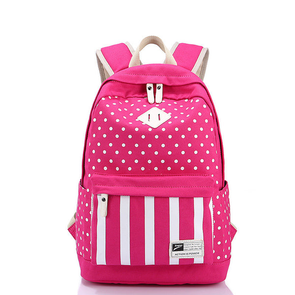 Polka Dot And Strip Print School Backpack Canvas Bag - Meet Yours Fashion - 4