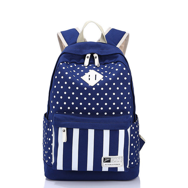 Polka Dot And Strip Print School Backpack Canvas Bag - Meet Yours Fashion - 2