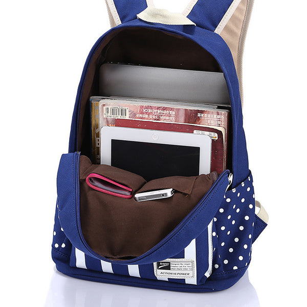 Polka Dot And Strip Print School Backpack Canvas Bag - Meet Yours Fashion - 5