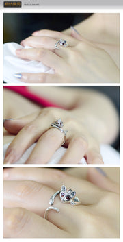 Cat lovers ring opening size adjustable alloy jewelry ring