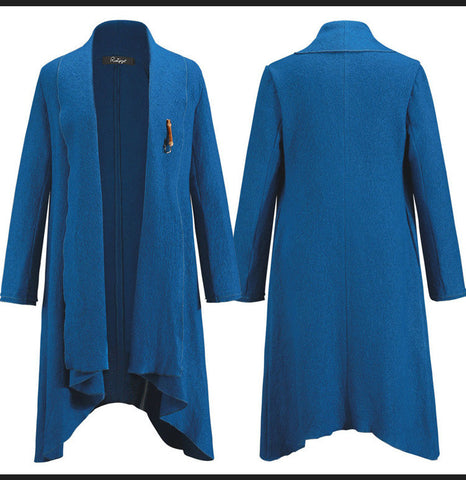 Drape Cardigan Asymmetric Solid Coat - Meet Yours Fashion - 8