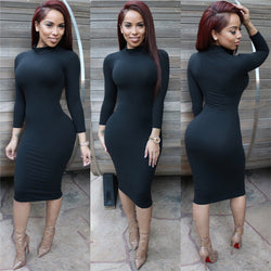 High Neck Long Sleeves Bodycon Pure Color Party ClubDress - MeetYoursFashion - 2