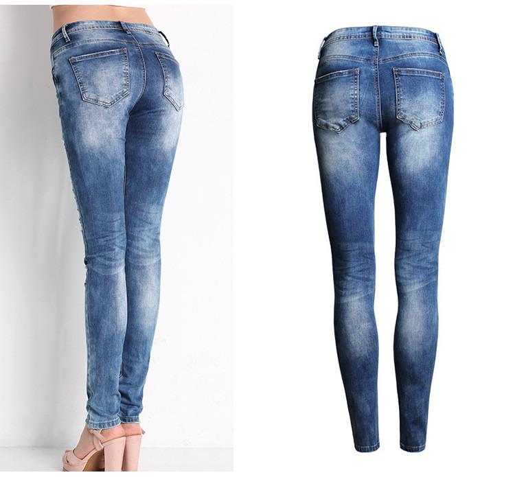 Ripped Beggar Street Straight Elastic Slim Jeans - Meet Yours Fashion - 5