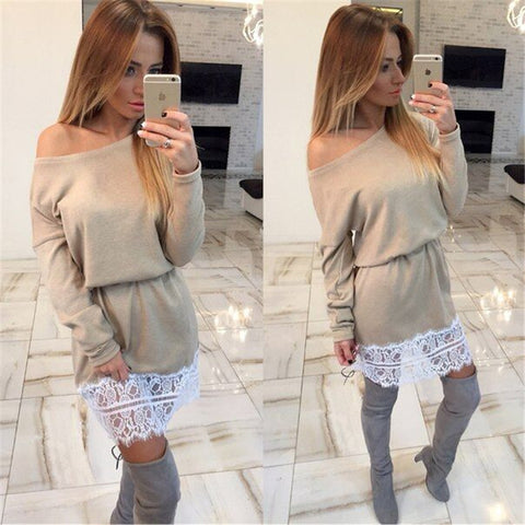 Splicing One Shoulder Long Sleeves Short Dress - Meet Yours Fashion - 2