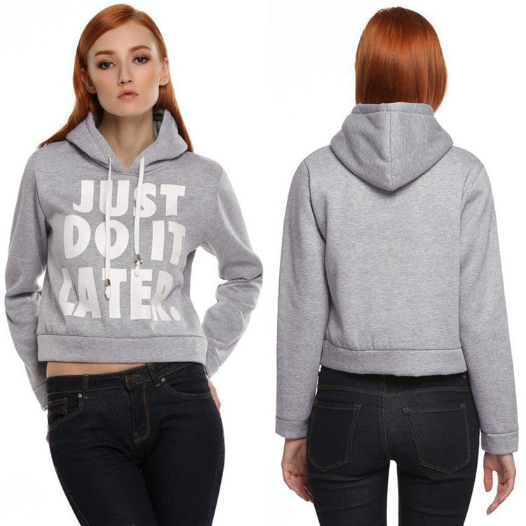 Letter Print Splicing Pullover Hooded Short Hoodie - Meet Yours Fashion - 2