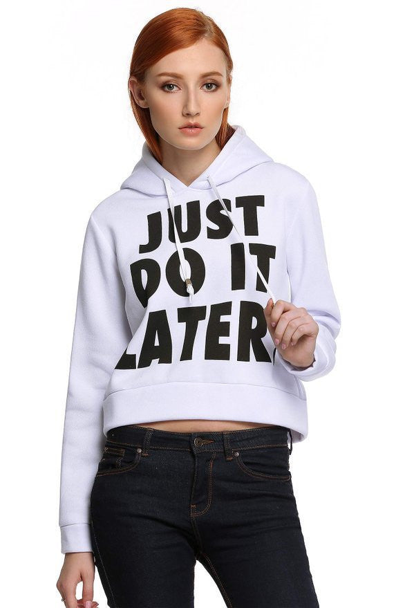 Letter Print Splicing Pullover Hooded Short Hoodie - Meet Yours Fashion - 1