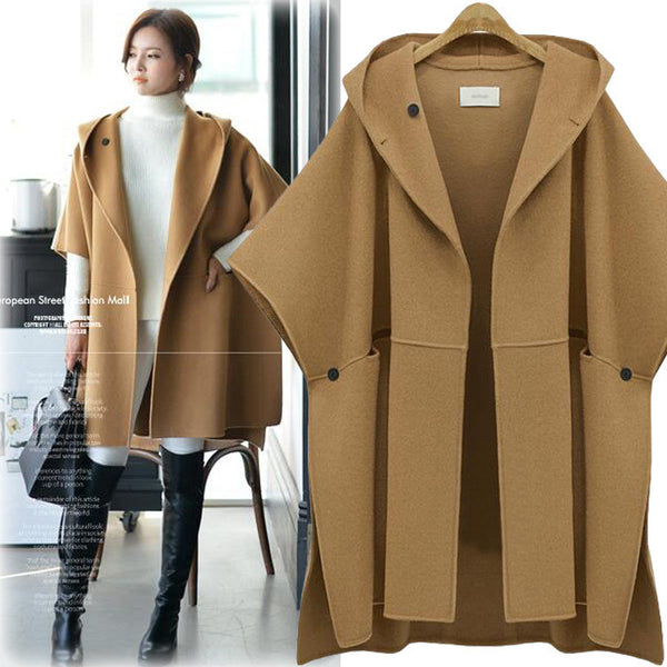 Hooded Lapel Bat-wing Sleeves Mid-length Woolen Coat