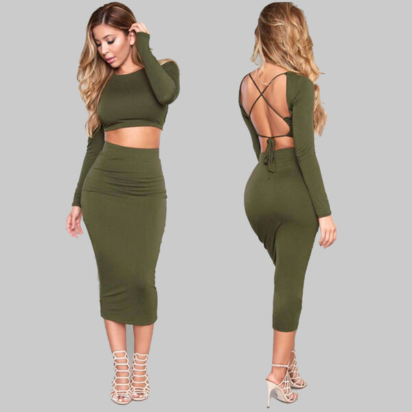 Pure Color Back-Cross Crop Top with Long Skirt Two Pieces Dress Set