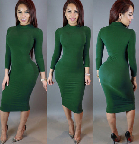 High Neck Long Sleeves Bodycon Pure Color Party ClubDress - MeetYoursFashion - 1