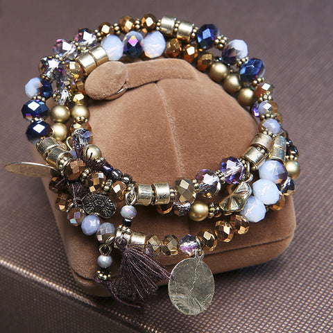 Multilayer Tassel Pendant Glass Bead Bracelet