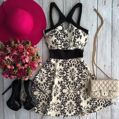 Chiffon Print Spaghetti Strap Sleeveless Short Dress - Meet Yours Fashion - 1