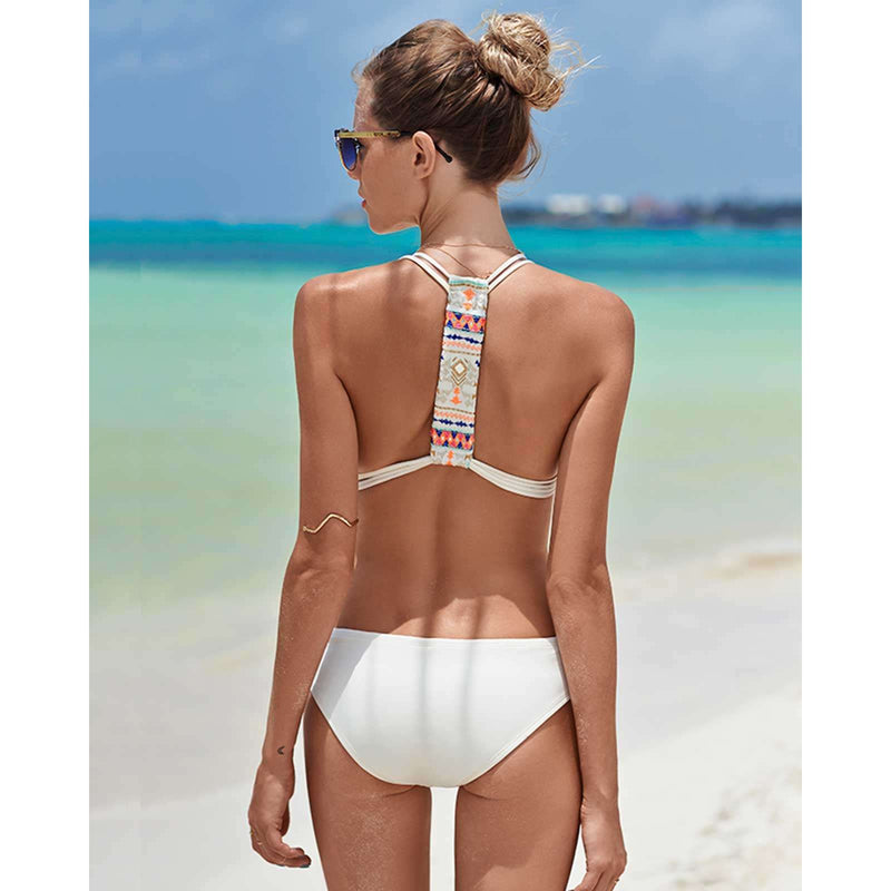 Pure Color Padded Straps One Piece Swimwear